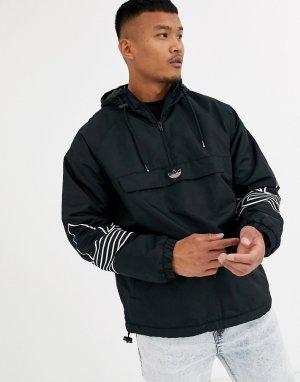 Черная куртка с флисовой подкладкой и принтом -Черный adidas Originals
