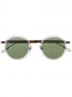 Солнцезащитные очки в круглой контрастной оправе Jacquemus. Цвет: коричневый