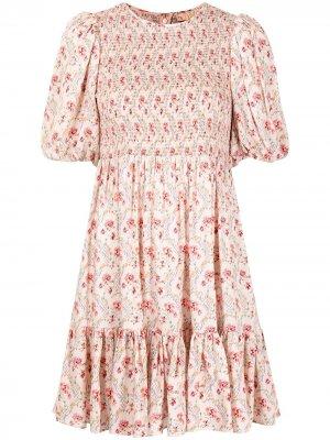 Платье мини с цветочным принтом byTiMo. Цвет: розовый