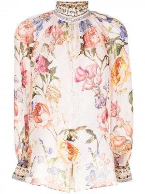 Блузка с цветочным принтом Camilla. Цвет: розовый