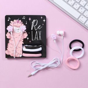 Наушники вакуумные и резинки для волос на открытке relax, 11 х 20,8 см Like me