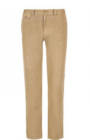 Однотонные хлопковые брюки прямого кроя Ralph Lauren. Цвет: бежевый