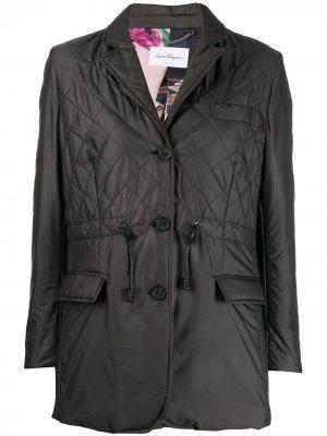 Стеганая куртка с кулиской Salvatore Ferragamo. Цвет: черный