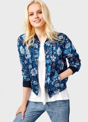 Куртка-бомбер с цветочным принтом OSTIN. Цвет: темно-синий