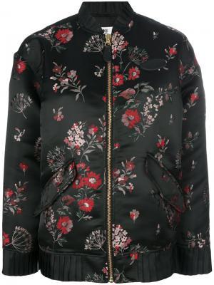 Куртка-бомбер с цветочной отделкой Mm6 Maison Margiela. Цвет: чёрный