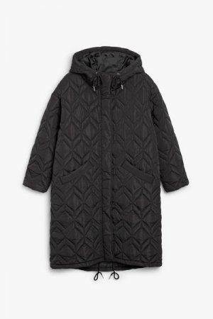 Стеганое пальто-парка в стиле оверсайз Monki. Цвет: черный