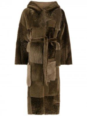Двустороннее пальто в технике пэчворк Liska. Цвет: коричневый