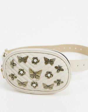 Сумка-кошелек на пояс с насекомыми -Кремовый Steve Madden