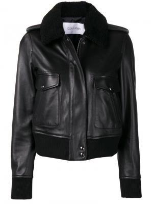 Куртка-бомбер с потайной молнией Calvin Klein. Цвет: черный