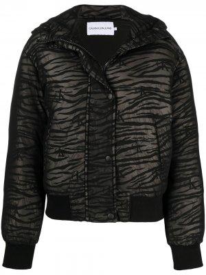 Сетчатый пуховик с зебровым принтом Calvin Klein Jeans. Цвет: черный
