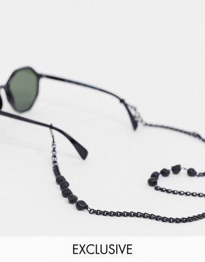 Черные матовые солнцезащитные очки с цепочкой и черепами -Черный Reclaimed Vintage