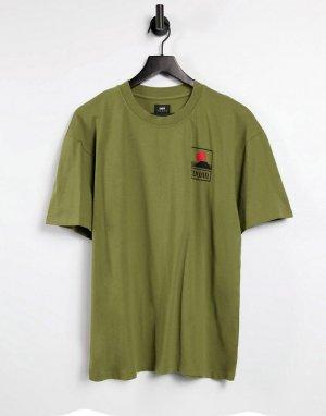 Футболка оливкового цвета с принтом горы Фудзиямы -Зеленый цвет Edwin