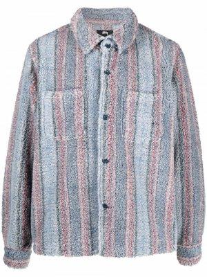 Striped sherpa shirt jacket Stussy. Цвет: синий