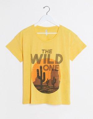 Желтая футболка с надписью the wild one -Желтый Blend She