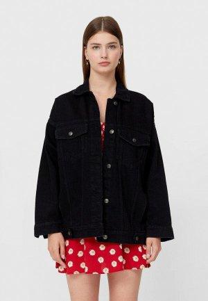 Куртка джинсовая Stradivarius. Цвет: черный