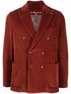 Двубортный вельветовый пиджак Circolo 1901. Цвет: коричневый