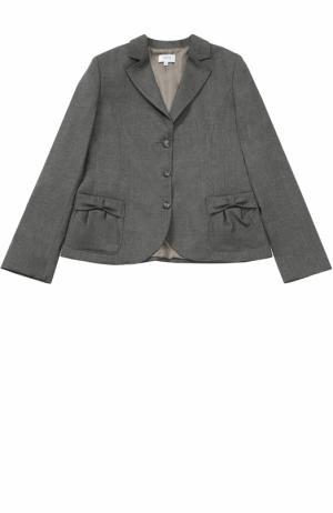 Однобортный пиджак с декором на карманах Aletta. Цвет: серый
