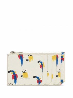 Клатч с графичным принтом Saint Laurent. Цвет: белый