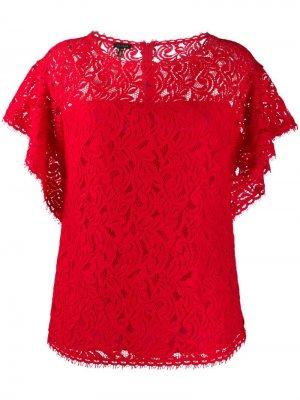 Блузка с оборками на рукавах Escada. Цвет: красный