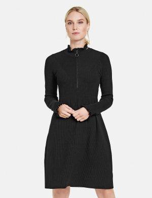 Вязаное платье с рюшами TAIFUN Gerry Weber. Цвет: black