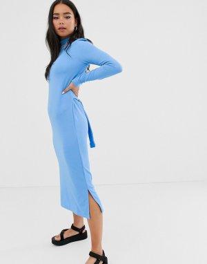 Платье миди с длинными рукавами и завязкой -Синий Noisy May
