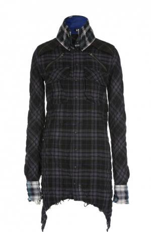 Блуза в клетку асимметричного кроя с накладными карманами L.G.B.. Цвет: черный
