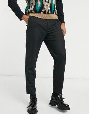 Черные классические брюки -Черный цвет Bershka