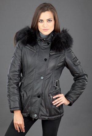 Утепленная кожаная женская куртка с капюшоном FLO-CLO. Цвет: черный