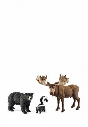 Набор игровой Schleich Жители лесов северной Америки. Цвет: разноцветный