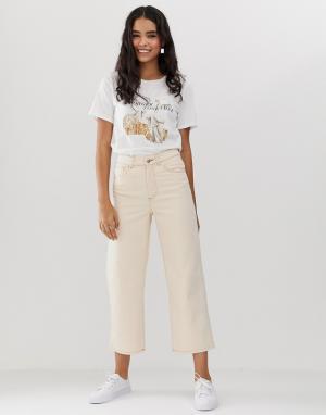 Светлые прямые джинсы до щиколотки из органического хлопка -Белый Monki