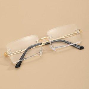 Мужские очки без оправы с прямоугольными линзами SHEIN. Цвет: золотистый