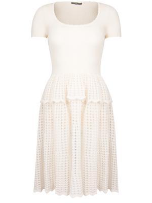 Платье с воланами A.MCQUEEN. Цвет: бежевый