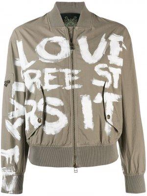 Куртка-бомбер с принтом Mr & Mrs Italy. Цвет: нейтральные цвета