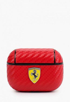 Чехол для наушников Ferrari Airpods Pro, PU carbon effect with metal logo Red. Цвет: красный