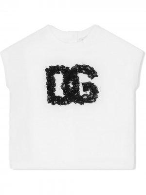 Топ с кружевным логотипом Dolce & Gabbana Kids. Цвет: белый
