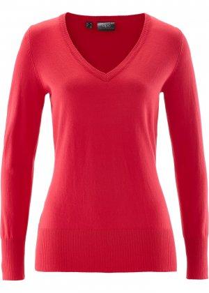 Пуловер тонкой вязки с V-образным вырезом горловины bonprix. Цвет: красный