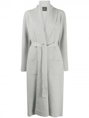 Кардиган-пальто с поясом Roberto Collina. Цвет: серый