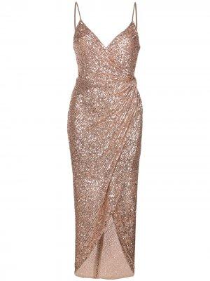 Платье асимметричного кроя с вышивкой Shona Joy. Цвет: золотистый