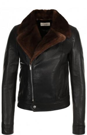Кожаная куртка с меховым воротником Saint Laurent. Цвет: черный