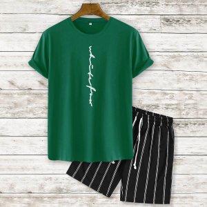 На кулиске с карманами буква Полосатый Повседневный Мужской Комплект из двух предметов SHEIN. Цвет: темно-зеленый