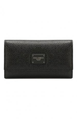 Кожаный футляр для ключей Dolce & Gabbana. Цвет: чёрный