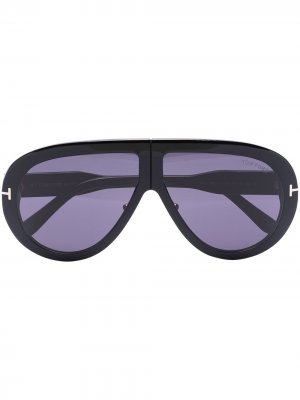 TF TROY OS ROUND SUNGLASSES BROWN TOM FORD Eyewear. Цвет: черный