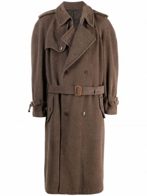1990s double-breasted belted coat Moschino Pre-Owned. Цвет: зеленый