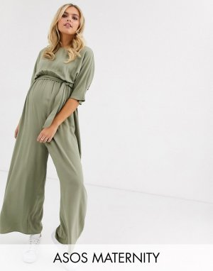Комбинезон с поясом ASOS DESIGN Maternity-Зеленый Maternity