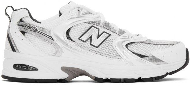 White & Silver 530 Sneakers New Balance. Цвет: white navy