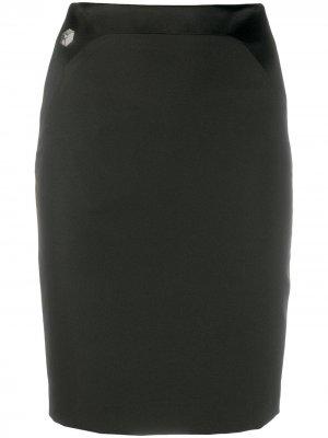 Короткая юбка с кристаллами Philipp Plein. Цвет: черный