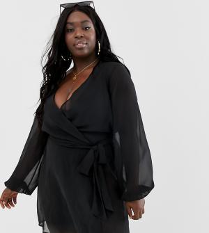 Черное пляжное кимоно из шифона с длинными рукавами и запахом ASOS DESIGN Curve-Черный Curve