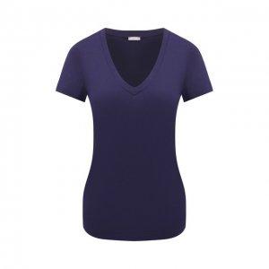 Хлопковая футболка Hanro. Цвет: синий