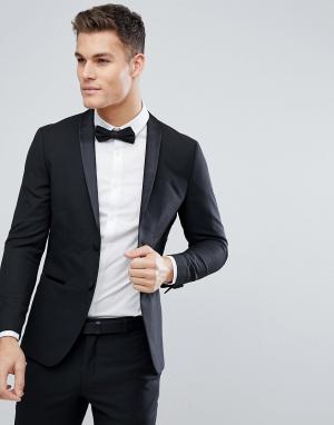 Пиджак-смокинг слим Premium Jack & Jones. Цвет: черный