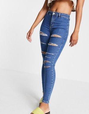 Голубые джинсы из переработанного смесового хлопка с большими рваными разрезами Joni-Голубой Topshop